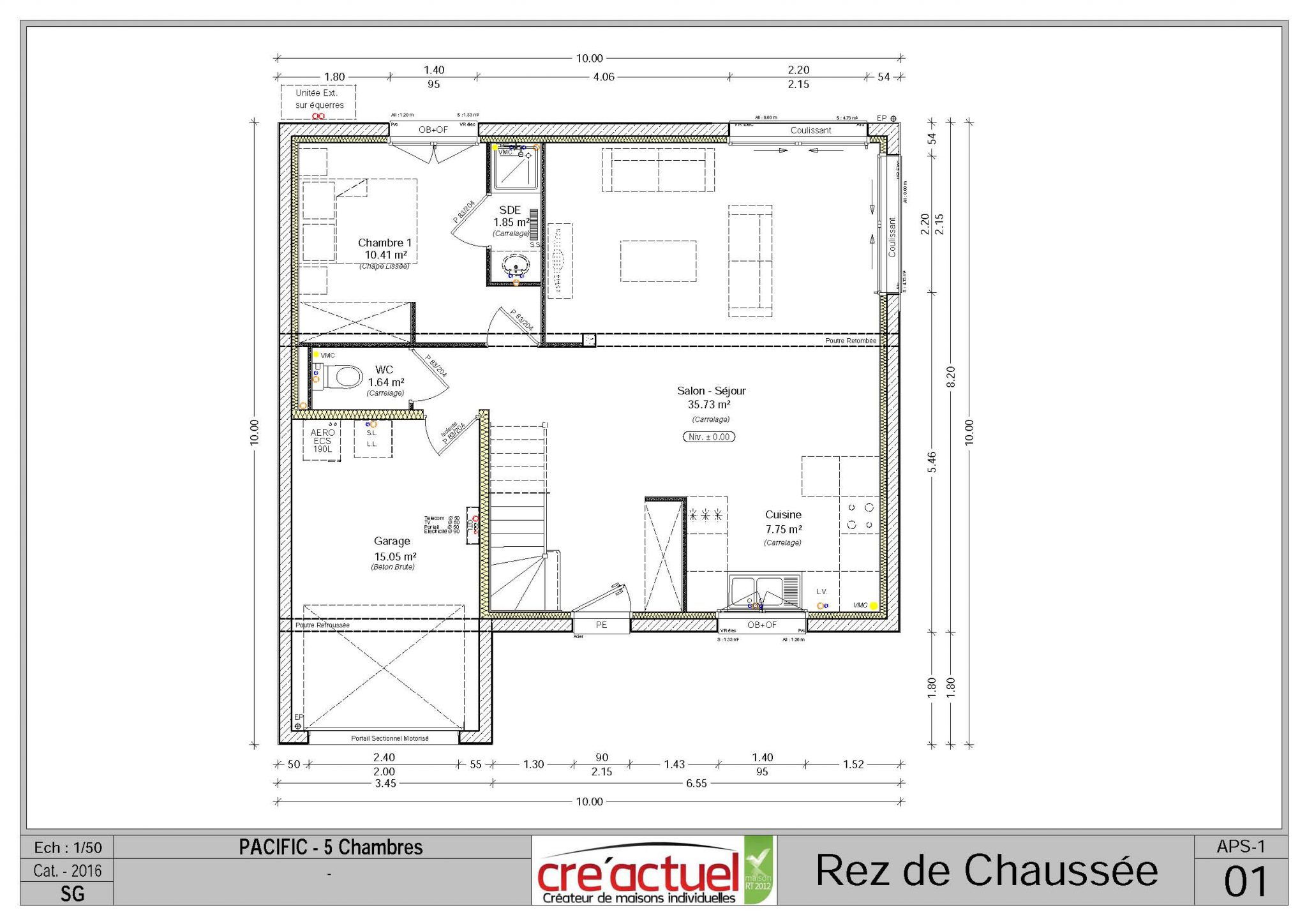 Maison mod¨le Pacific 4 pans 5 chambres garage Creactuel
